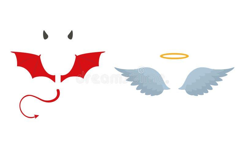 Angels halo and devils black and red horns. Vector illustration.  vector illustration