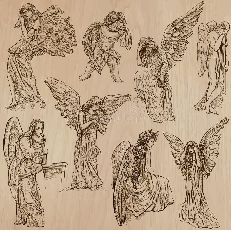 28 Angel Drawings Free Drawings Download: Hand Drawn Vector Pack Stock Vector