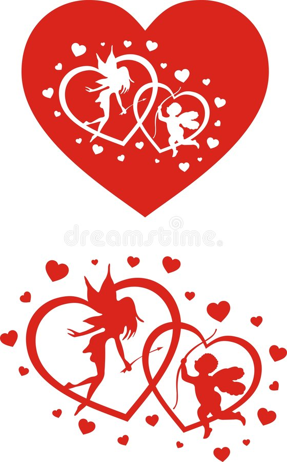 Angels and hearts. St. valentines day decoration - angels and hearts vector illustration