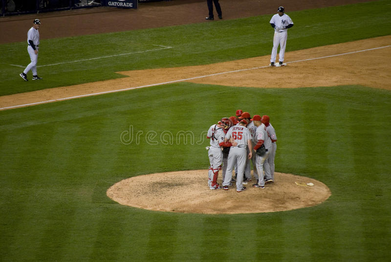 Download Angels Huddle 2009 ALCS editorial stock photo. Image of huddle - 11477383