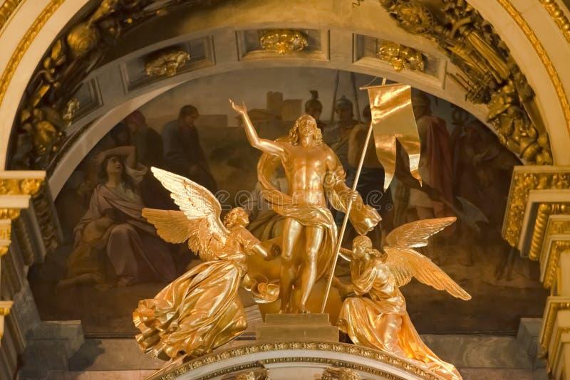 Angels kneeling, Jesus Christ, Isaac Cathedral, St. Petersburg stock photo