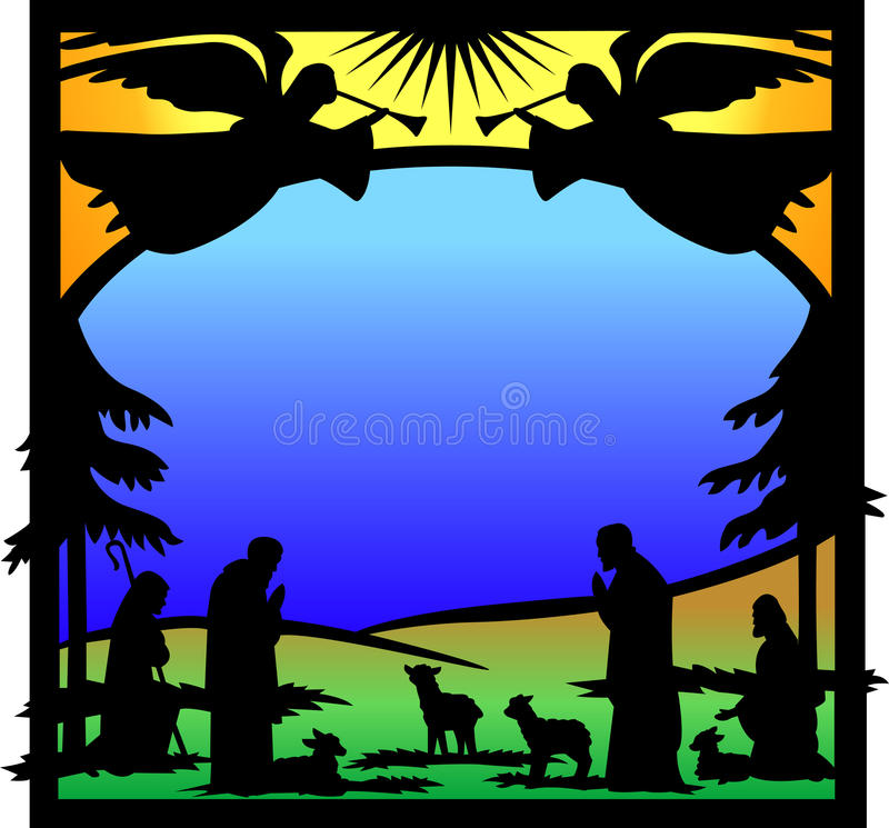 Angels Nativity Silhouette/eps stock illustration
