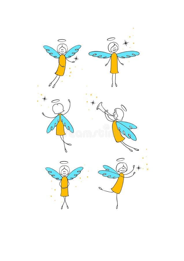 Angels set. Six sweet flying angels set royalty free illustration