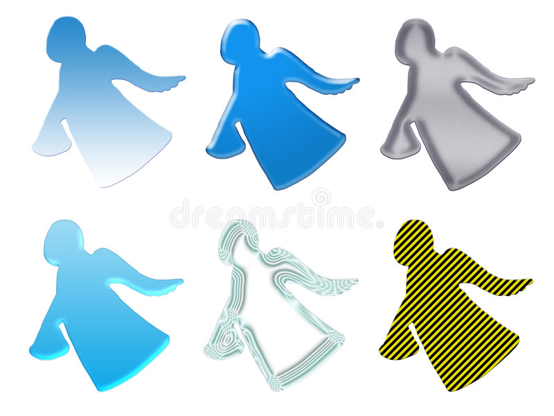 Angels silhouettes with the gift stock illustration