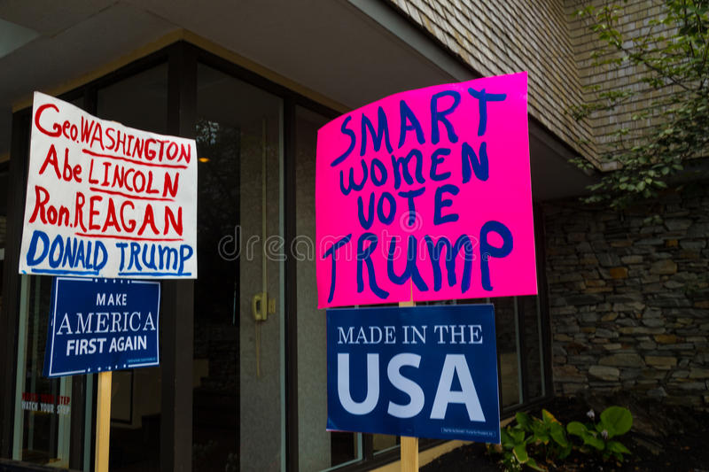 Angels Singing for Trump Sign. Lancaster, PA - August 9, 2016: Signs at a rally during GOP Vice Presidential candidate Gov. Mike Pence appearance in Lancaster stock photos