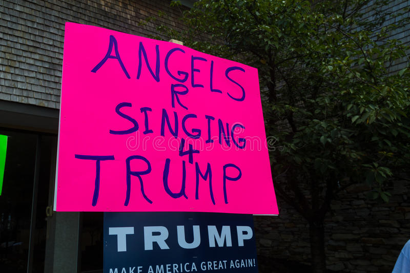 Angels Singing for Trump Sign at Rally. Lancaster, PA - August 9, 2016: Signs at a rally during GOP Vice Presidential candidate Gov. Mike Pence appearance in royalty free stock photos