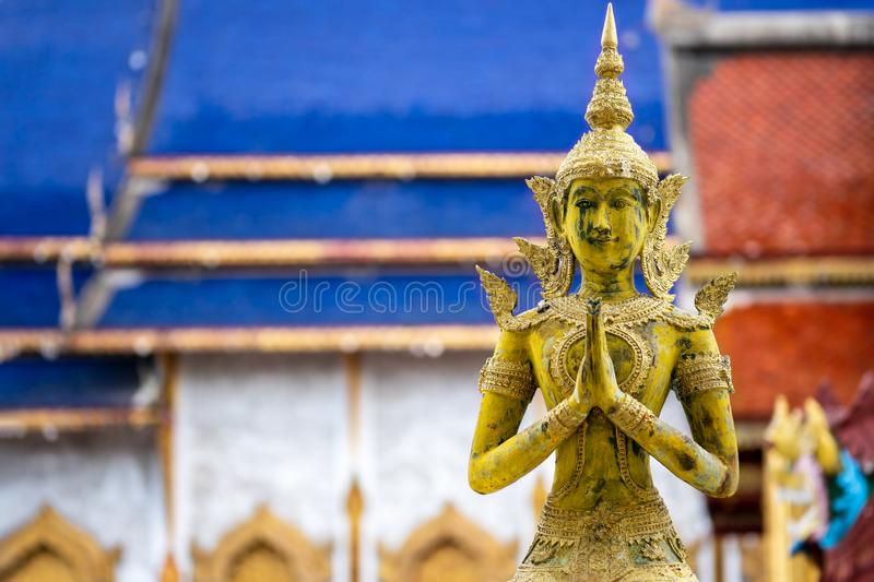 Angels statue to pay respect in Thailand temple. Angels statue to pay respect at Chiang Mai Thailand temple. Concept of Thai buddhism religion and culture stock photo