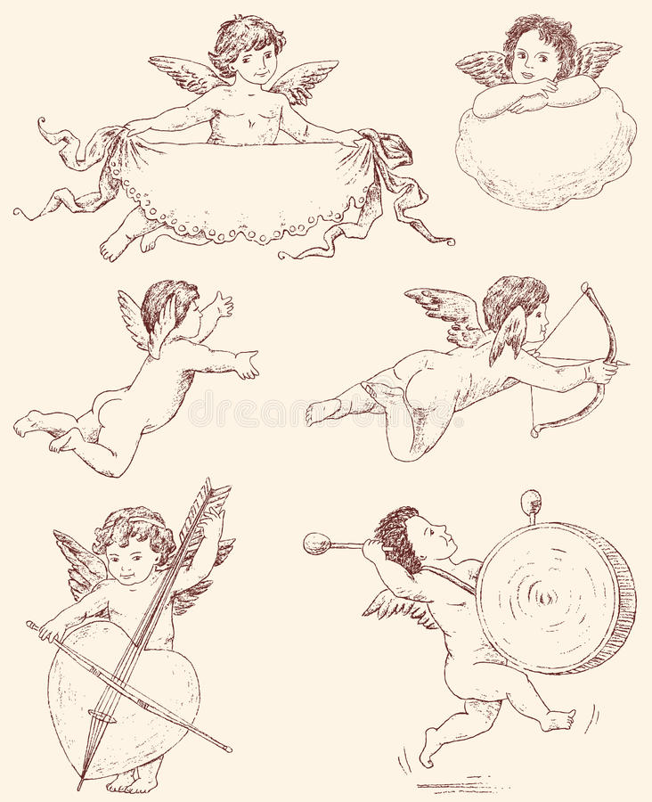 Angels. Vector drawings of the various vintage angels royalty free illustration