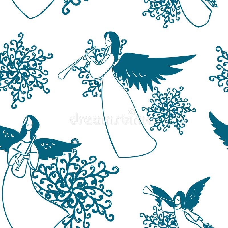 Angels vector pattern play music seamless sketch royalty free illustration