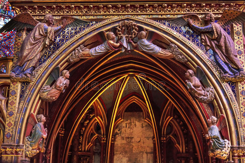 Angels Wood Carvings Cathedral Sainte Chapelle Paris France. Angels Wood Carvings Cathedral Saint Chapelle Paris France. Saint King Louis 9th created Sainte royalty free stock photography