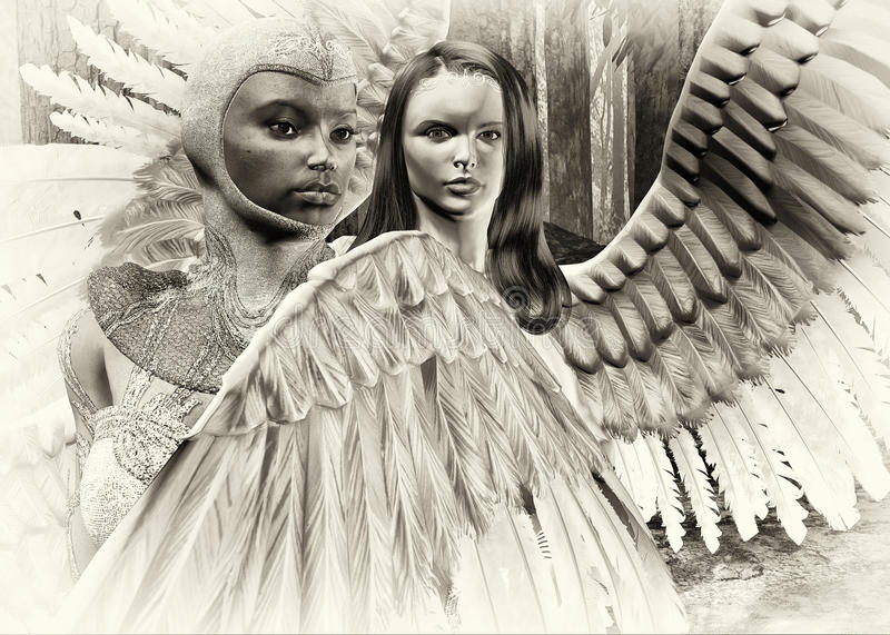 Angels in the woods stock illustration