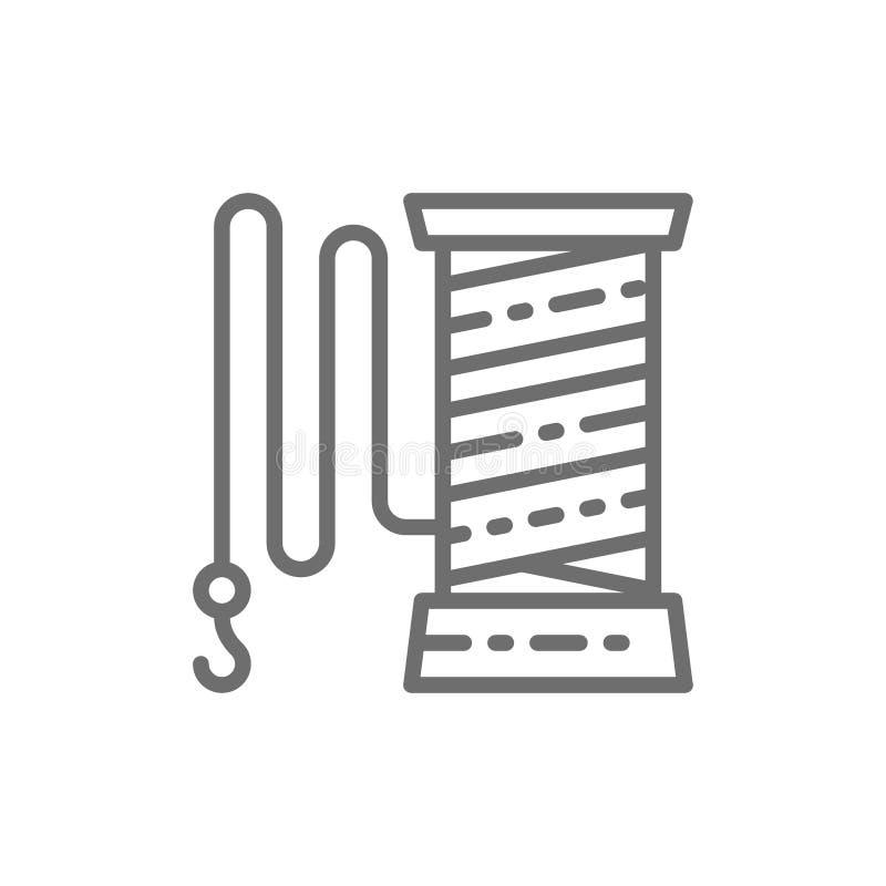 Angelschnur mit Hakenlinie Ikone vektor abbildung