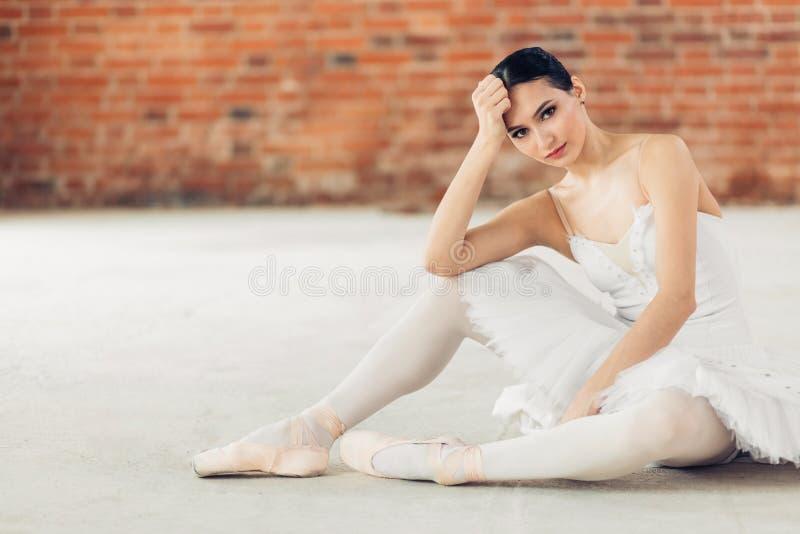 Angenäm avkopplad ballerina som poserar till kameran royaltyfri fotografi