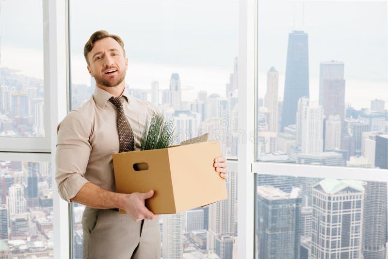 Angenäm kontorsarbetare som får befordran i företaget royaltyfri foto