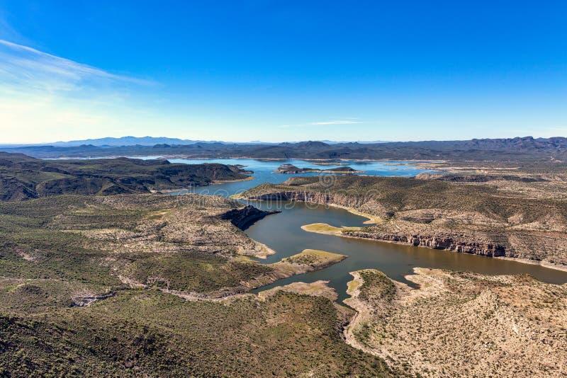 Angenäm sjö, Arizona en populär rekreationsområde som är nordvästlig av Phoenix arkivbild