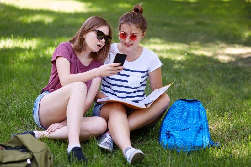 Angenäma seende kvinnliga tonåringhåll ilar telefonen, ser skärmen samman med vän, gör att shoppa online-, medan vila på gräsplan arkivfoton