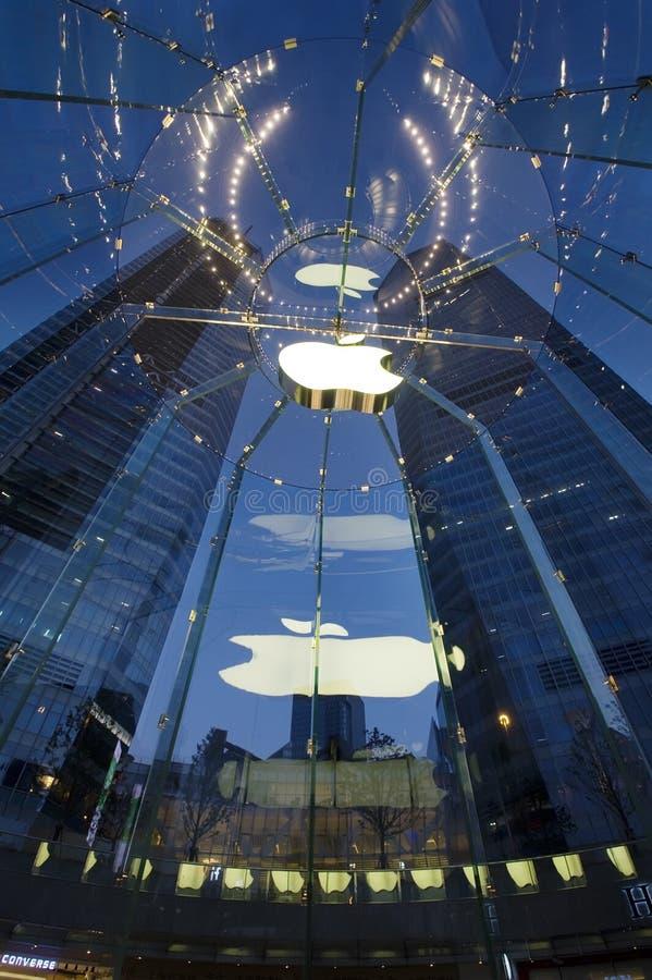 Angeordnet in Pudong, Produkte Shanghai-, China Apple stockfotografie