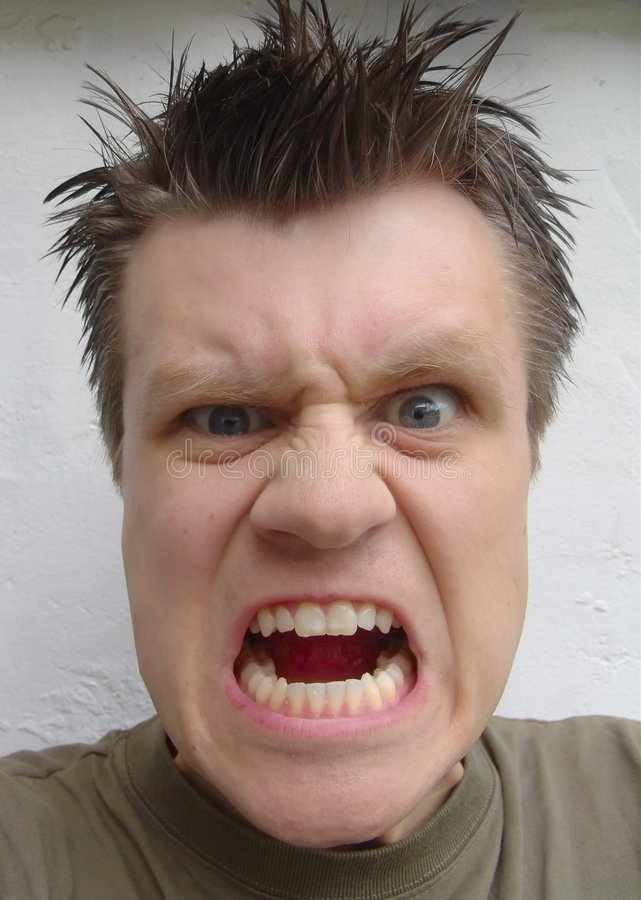Anger. Man screaming stock image