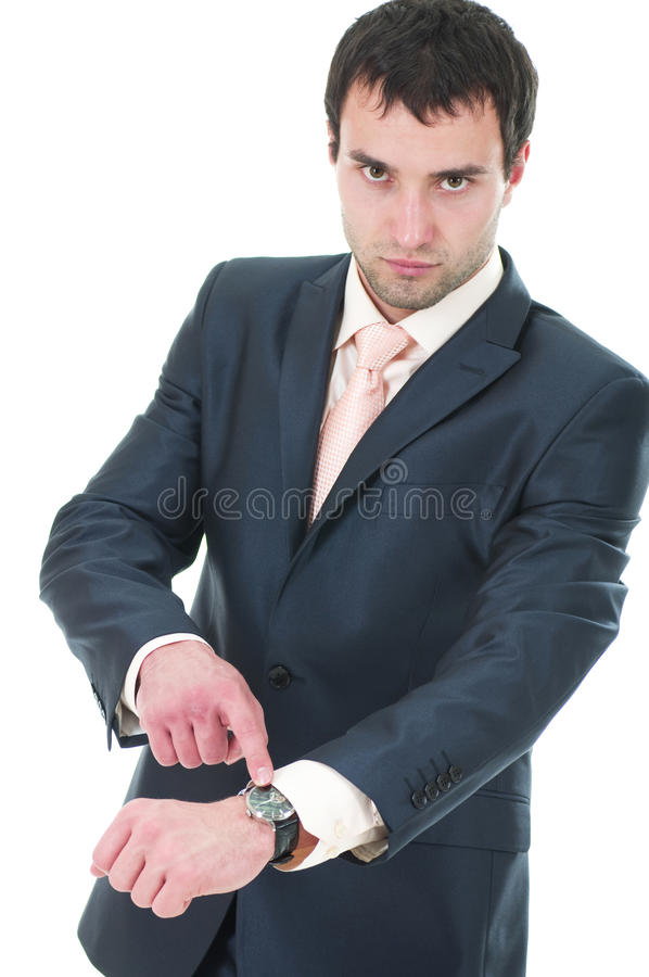 Anger business man with clockworks royalty free stock images