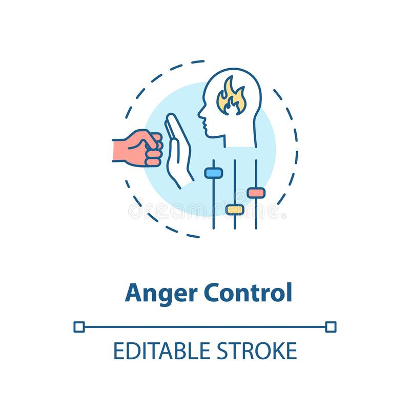 Anger control concept icon. Self improvement, personal growth, stress management idea thin line illustration. Managing negative emotions. Vector isolated royalty free illustration
