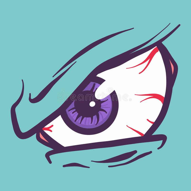 In anger eyeball icon, hand drawn style stock illustration