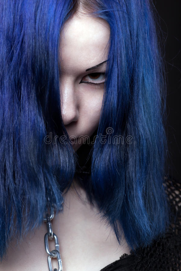 Download Anger Girl With Chain On Neck - Gothic Style Stock Image - Image: 19521907