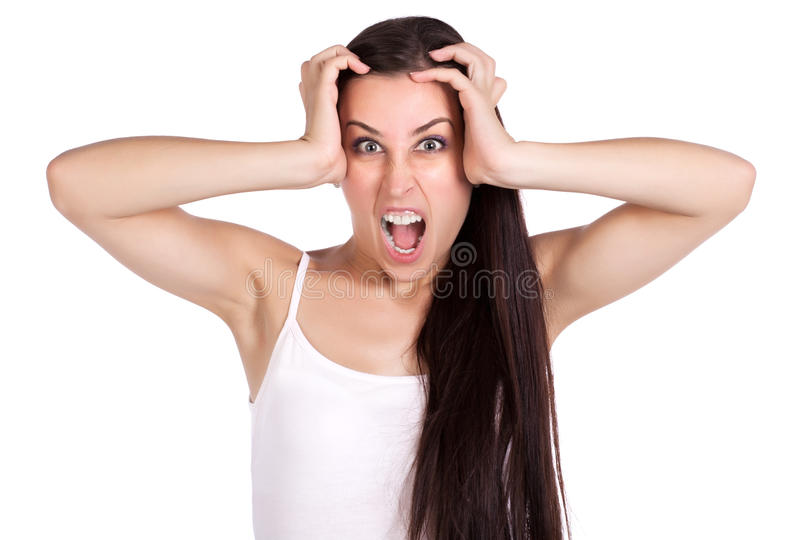 Download Anger Girl Is Holding Her Hands Over Head Stock Photo - Image of temple, head: 27203410