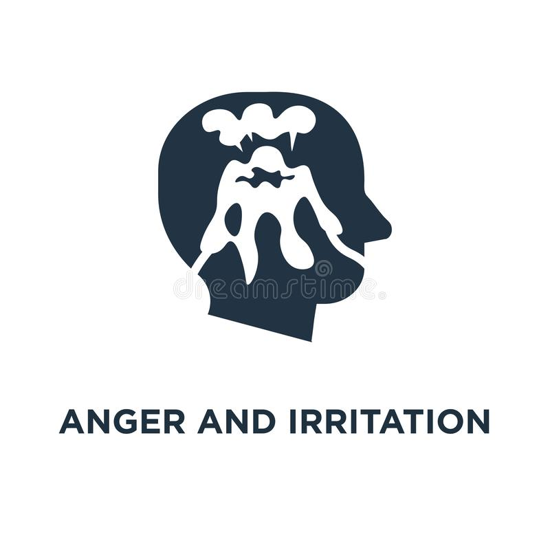 anger and irritation icon. easy to explode, hysteric behavior, volcano eruption in head concept symbol design, feeling mental royalty free illustration