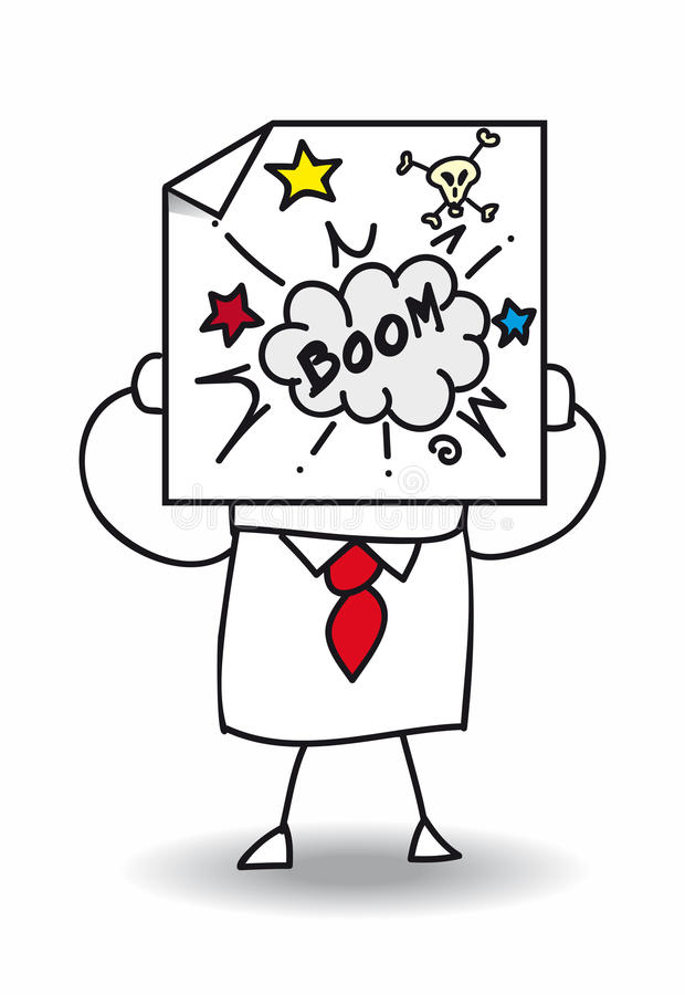 The anger. John Doe holds a sheet of paper on which is draw the word boom with a skull and an explosion. It is a metaphor. This man is very furious stock illustration
