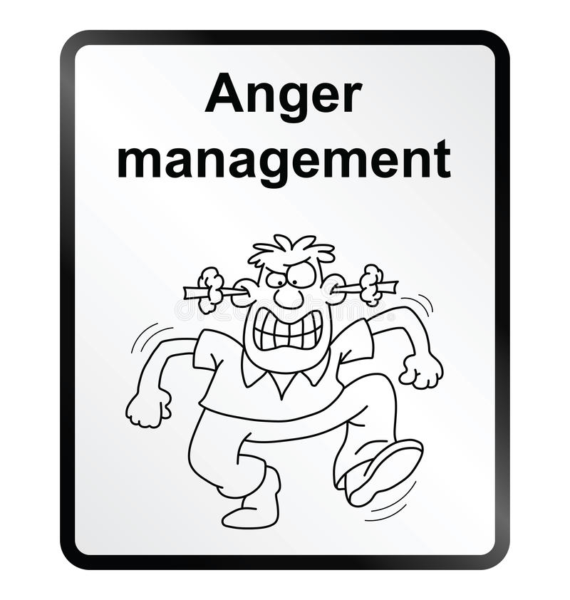 Anger Management Information Sign. Monochrome anger management public information sign isolated on white background vector illustration
