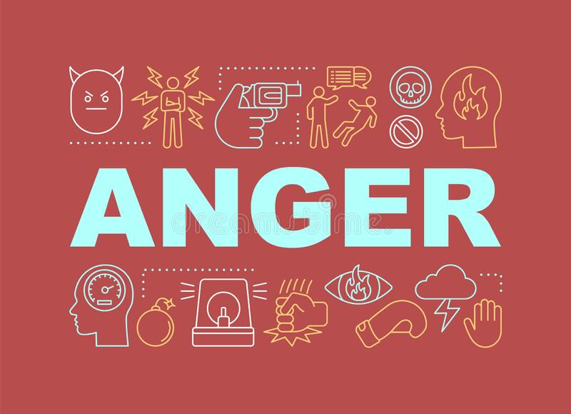 Anger word concepts banner. Presentation, website. Stress and burnout. Isolated lettering typography idea with linear icons. Irritation. Vector outline stock illustration