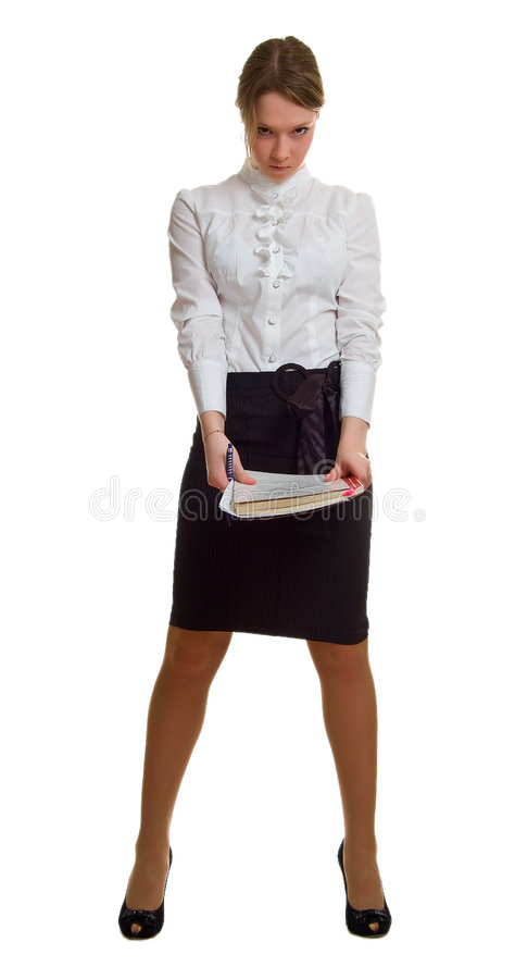Download Anger Young Girl With Pen And Sheet Of Paper Stock Image - Image: 8753617