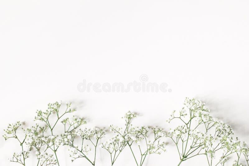 Angeredetes Foto auf Lager Weibliche Hochzeit, Geburtstagszusammensetzung mit Gypsophilablumen der Atem des Babys Weißer Tabellen lizenzfreie stockbilder