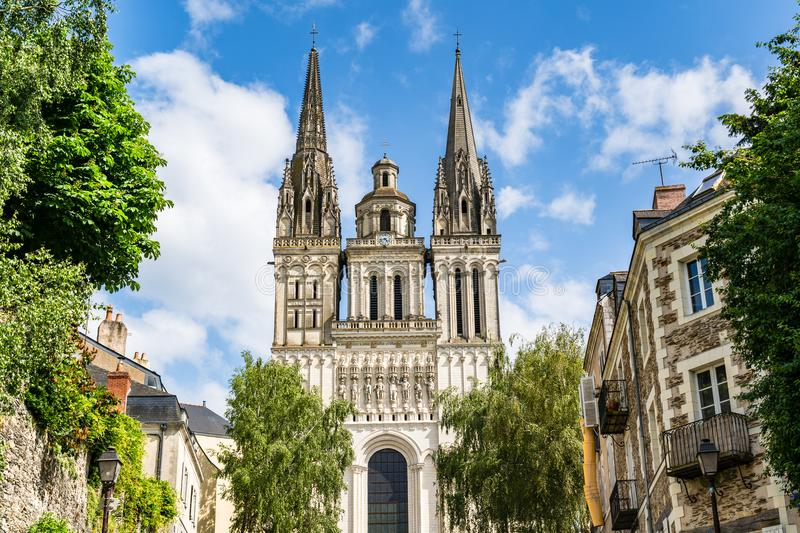 The Saint Maurice Cathedral of Angers, France. Angers, France: Saint Maurice Cathedral of Angers, built between the 11th and 16th Centuries, classified in 1862 royalty free stock photo