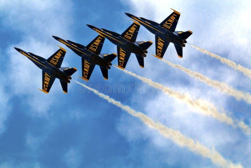 Anges bleus haut étroit et dans la formation Seattle Washington images libres de droits