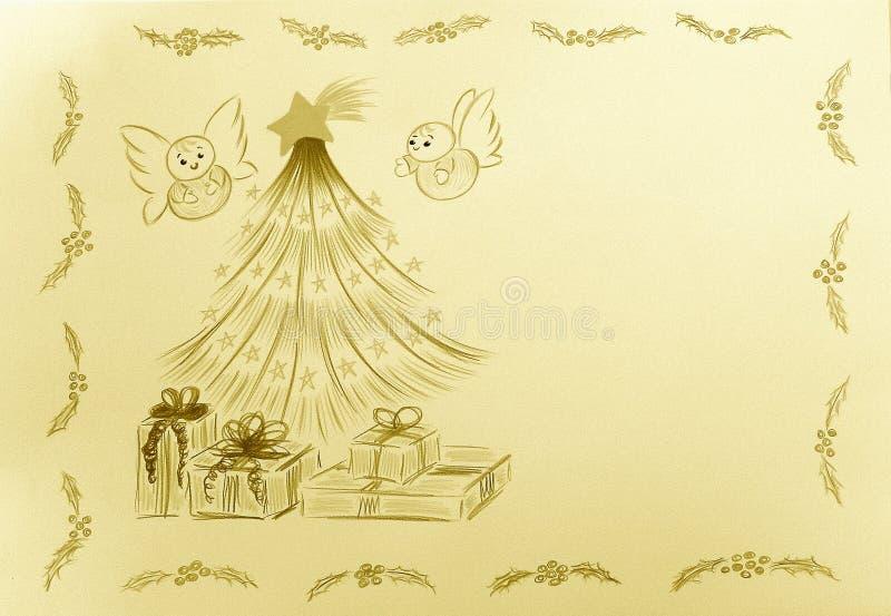 Anges de feuilleté par l'arbre de Noël photos libres de droits