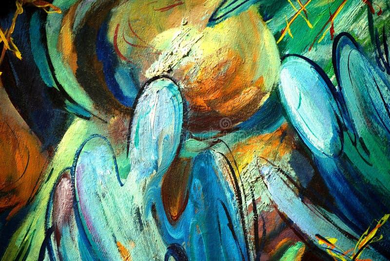 Anges et dômes, peignant par l'huile sur la toile illustration de vecteur
