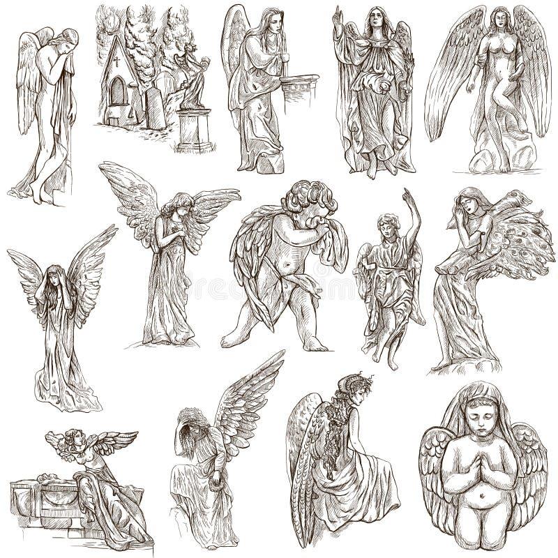 Anges - illustrations normales tirées par la main, originaux illustration stock