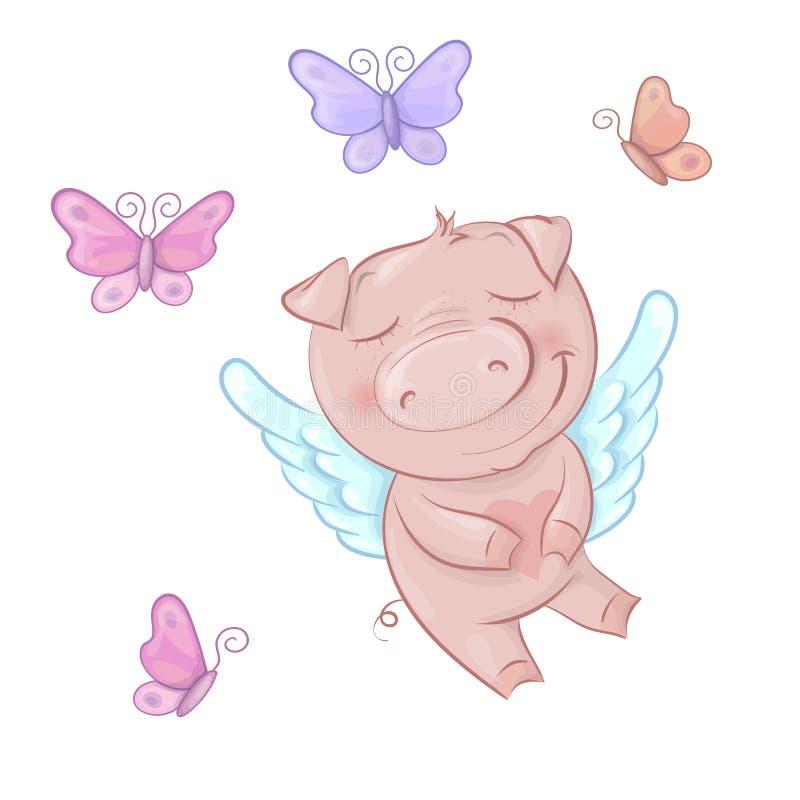 Anges mignons de porcs dans le style de bande dessinée Jour de valentines drôle réglé dans le vecteur illustration stock