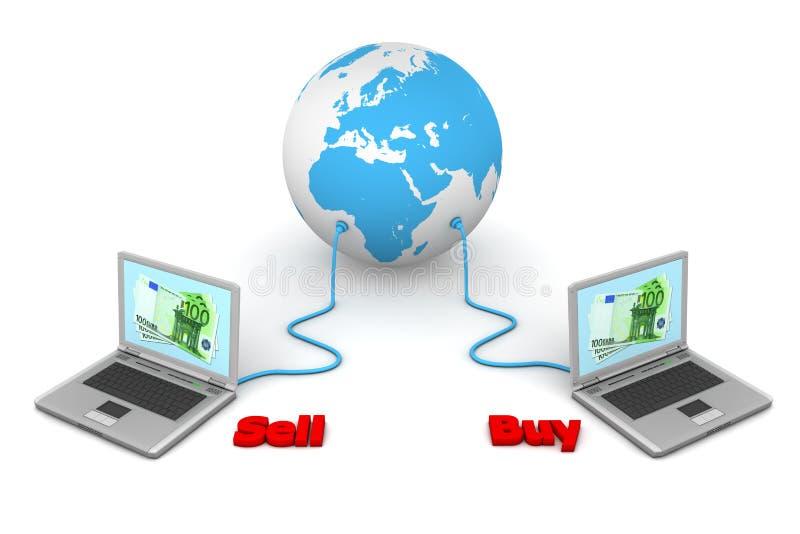 Angeschlossen an die Welt - elektronischer Geschäftsverkehr lizenzfreie abbildung