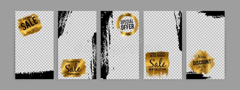 Angespornt durch instagram - Social Media-Vektorgeschichten-Verkaufsschablone mit Schmutzeffekt vektor abbildung