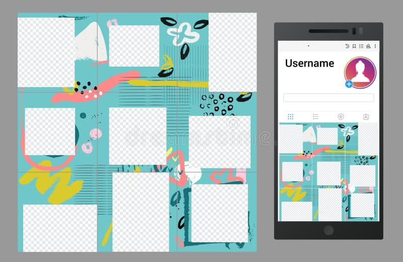 Angespornt durch instagram Vektorsocial media verwirren Sie Schablonenentwurf vektor abbildung