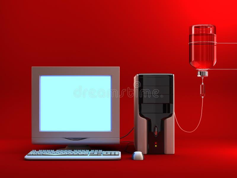 Angesteckter Computer lizenzfreie abbildung