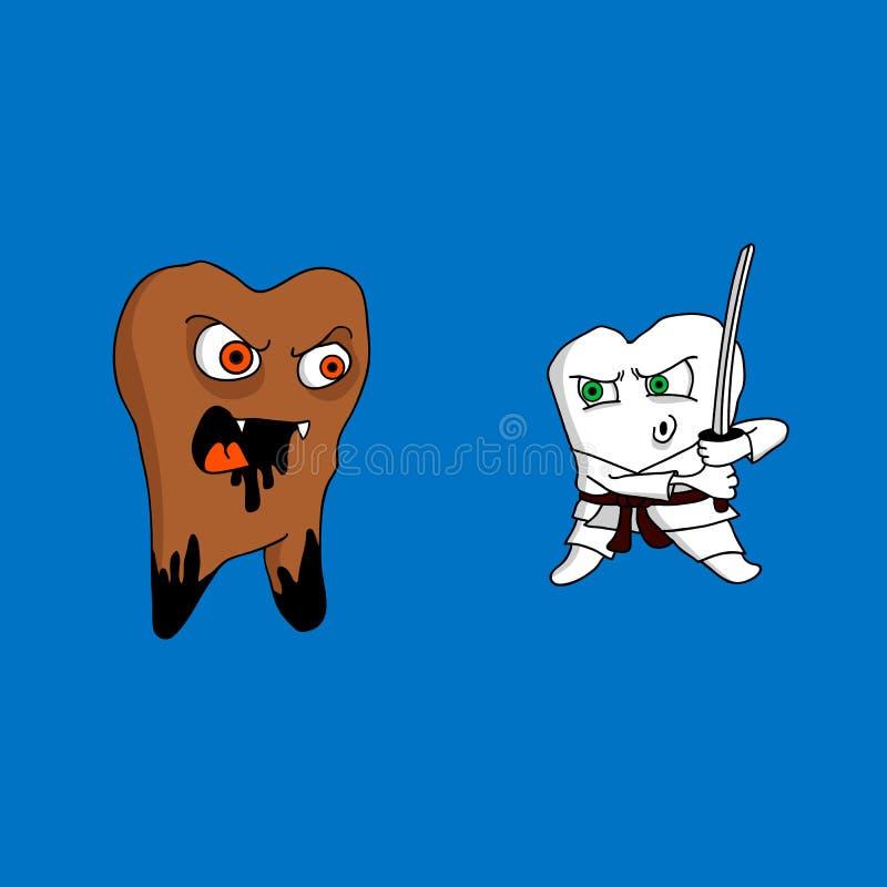 Angesteckter Zahn und gesunde Zähne stockbild