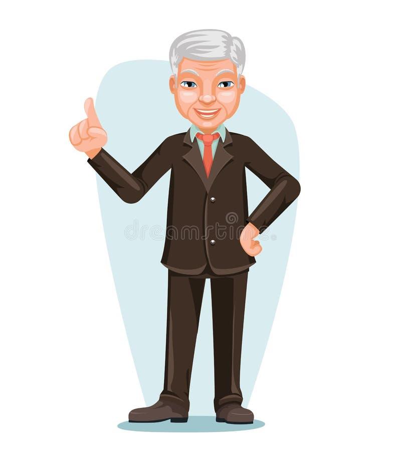 Angestellt-Chef-Hand Forefinger Up-Zeichentrickfilm-Figur-Design älterer asiatischer Geschäftsmann-Chinese Japanese Vietnameses m stock abbildung