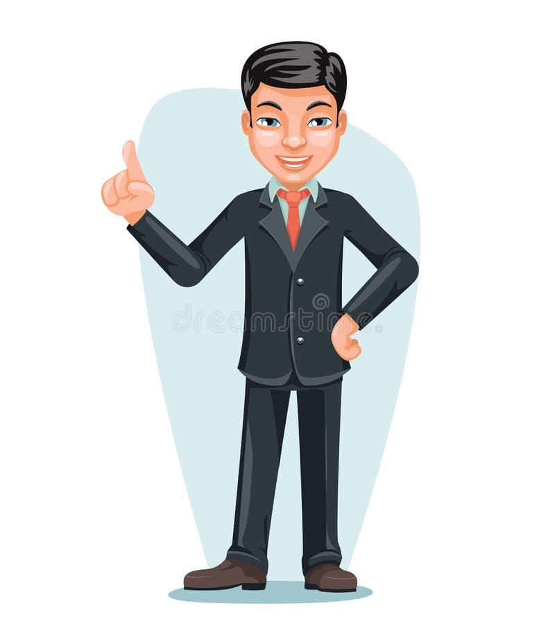 Angestellt-Chef-Hand Forefinger Up-Zeichentrickfilm-Figur-Design-Vektor asiatischer Geschäftsmann-Chinese Japanese Vietnameses mä stock abbildung