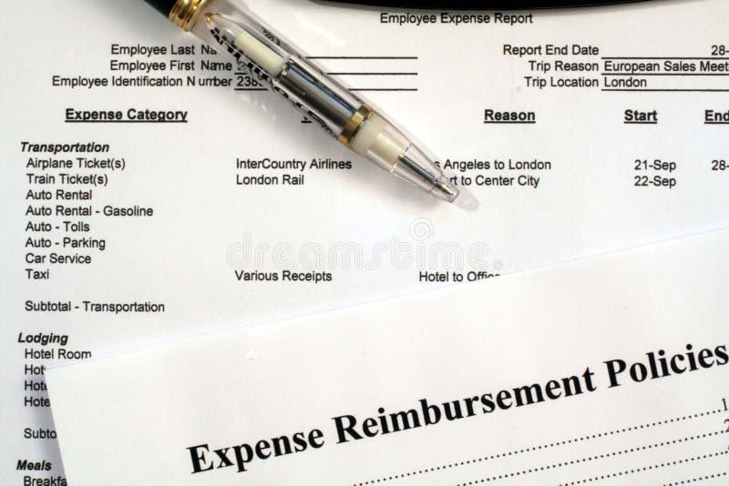 Angestellt-Unkosten-Report-u. Unkosten-Vergütung-Politik lizenzfreies stockbild