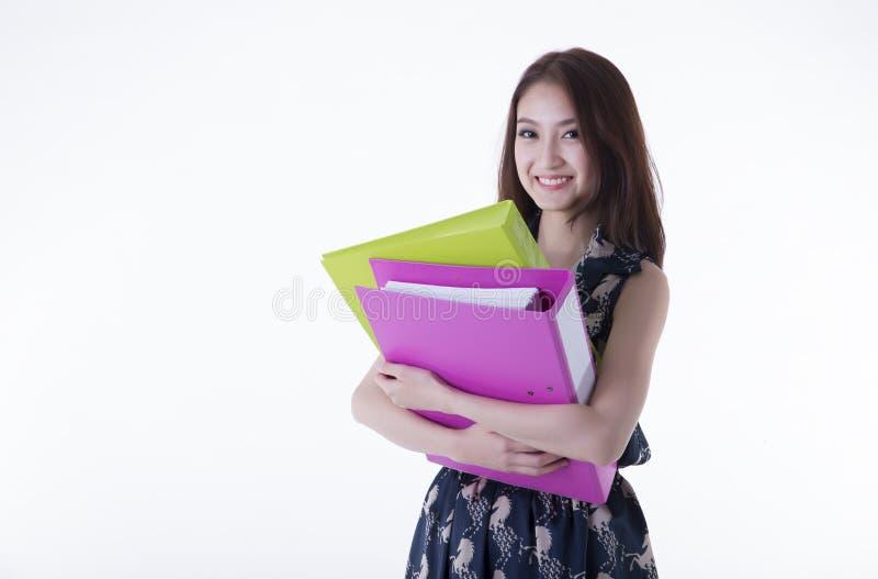 Angestellte, die eine Datei halten lizenzfreie stockbilder
