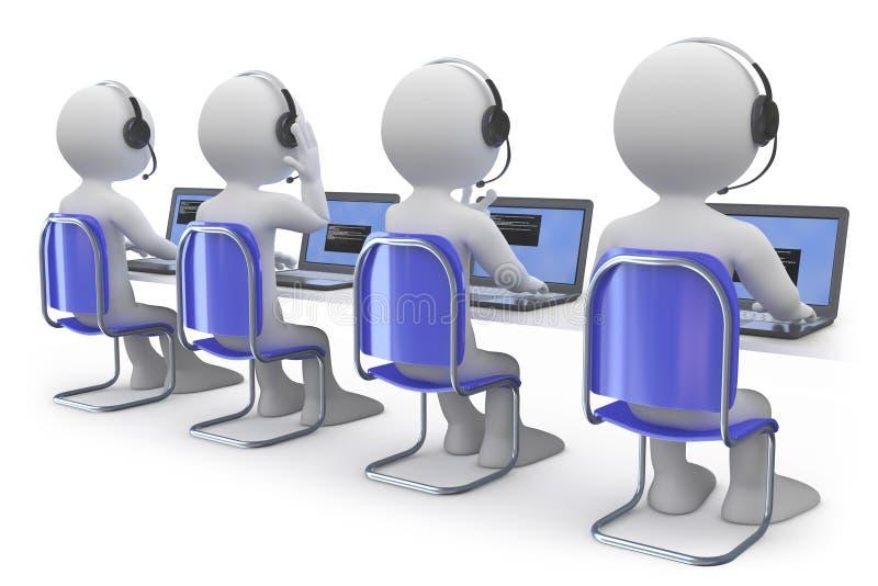 Angestellte, die in einem Kundenkontaktcenter arbeiten vektor abbildung