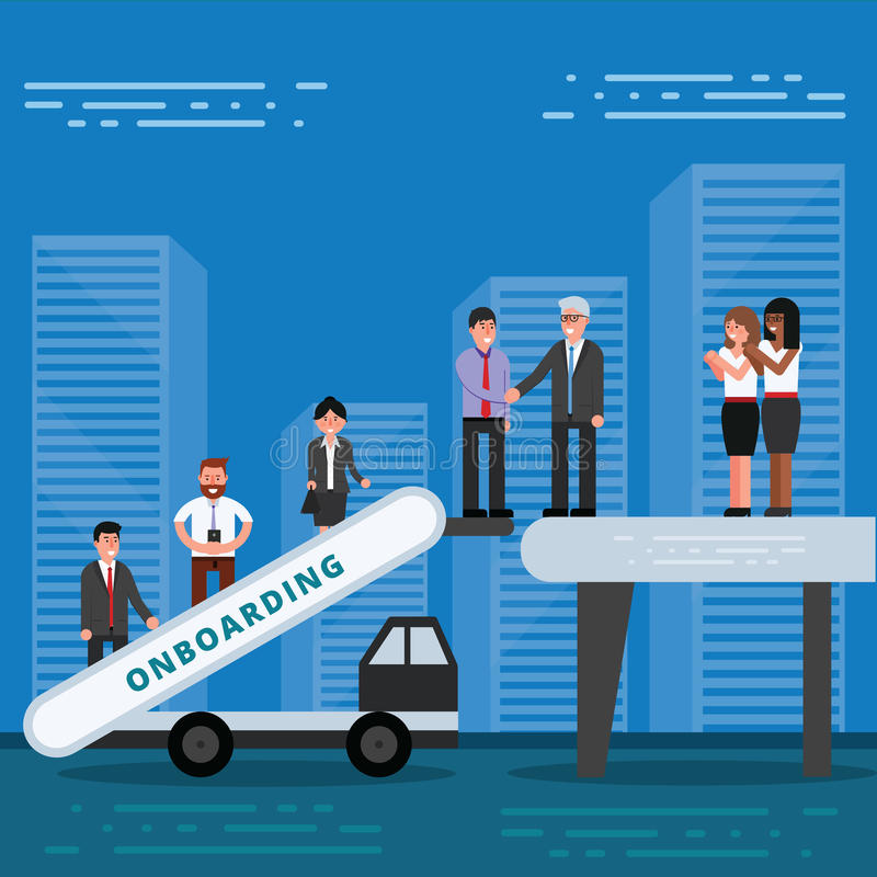 Angestellte, die Konzept onboarding sind Stunden-Manager, die neue Arbeitskräfte für einstellen lizenzfreie abbildung